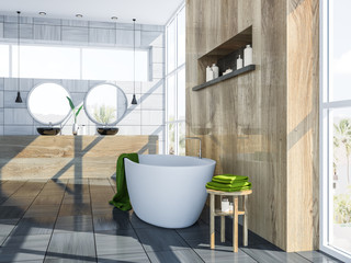 Gray Scandinavian bathroom interior, tub and sink © denisismagilov