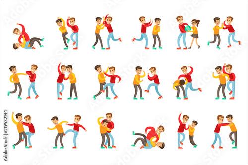 Kids Bullies Childish Cartoon Style Cute Vector Illustration - 219532144