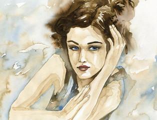 Woman watercolor. © bruniewska