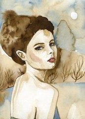 Woman watercolors. © bruniewska