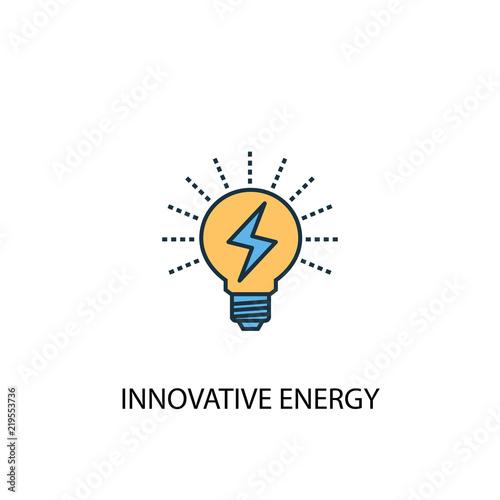 Innowacyjna koncepcja energii 2 kolorowe ikony linii. Prosta żółta i błękitna element ilustracja. Innowacyjna koncepcja energetyczna konspekt symbol projektu z zielonej energii zestaw
