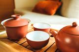 The oriental tea set on a bamboo tray