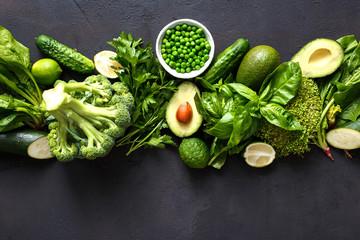 Raw healthy food clean eating vegetables green vegetables top view © kucherav