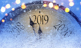 Countdown to midnight. Retro style clock counting last moments before Christmass or New Year 2019. - 219577534