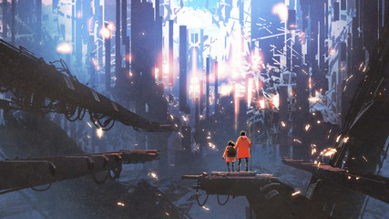 father and his daughter looking at the abstract city with glowing particles flying around them, digital art style, illustration painting © grandfailure