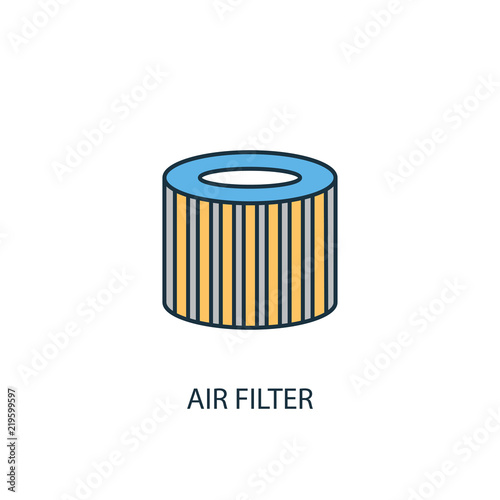 Air Filter Concept 2 Colored Line Icon Simple Yellow And Blue
