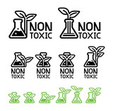 Green care and non-toxic from science technology(icon concept). Environmental chemistry are already certified safety for user product. Eco chemical symbol. - 219608990
