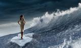 Surfing sea on ice floe. Mixed media - 219611166