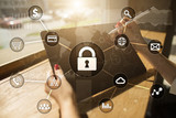 Cyber security, Data protection, information safety and encryption. internet technology and business concept. Virtual screen with padlock icons. - 219619774