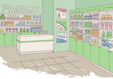 Pharmacy interior graphic store shop color sketch illustration vector - 219621933