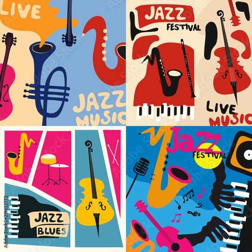 Set of music cards and banners. Music cards with instruments flat vector illustration. Jazz music festival banners. Colorful jazz concert posters © abstract