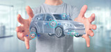 Man holding a Smartcar with checkings 3d rendering