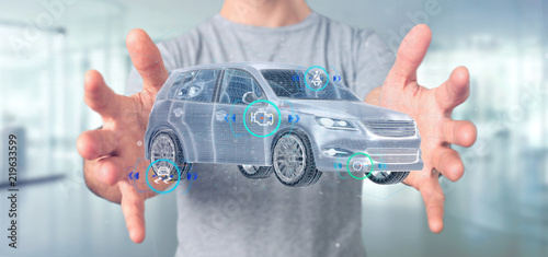 Man holding a Smartcar with checkings 3d rendering - 219633599
