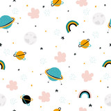 Space seamless pattern with hand drawn elements. Kids graphic. Vector illustration. - 219634347
