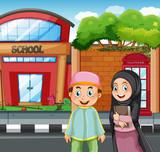 Muslim students in front of school - 219635527