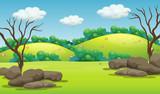 A green mountain landscape - 219635581