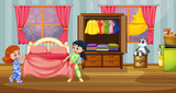 Girls in pajamas at bedroom - 219635786