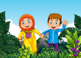 Muslim couple in the forest - 219635922