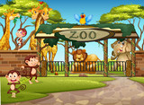 Wild animals in the zoo - 219636181