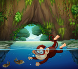 A monkey diving in the river - 219636714