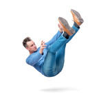 Situation, the man is falling. isolated on white background. Concept of an accident - 219637971