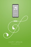 Smartphone black color and Earphones wireless and remote, In Ear type flat design, Treble Clef shape made from cable illustration isolated on green gradient background, with copy space - 219639585