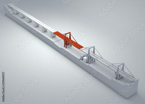 Ponte Morandi di Genova, ponte crollato, scarsa manutenzione. Ricostruzione e demolizione di tutto il ponte. Italia. Regione Liguria