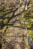 Old stone staircase in a rocky terrain with shadows