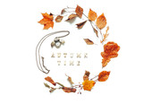 Autumn background - autumn leaves, bronze clock in form of the owl and Autumn time letters on the white background - 219649946