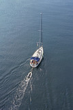 Aerial view to Sailing ship Yacht in blue sea - 219655126