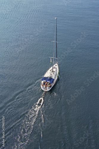 Aerial view to Sailing ship Yacht in blue sea