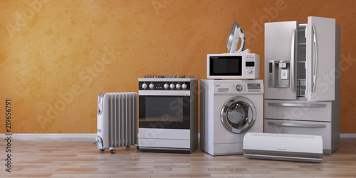 Leinwanddruck Bild Set of household kitchen technics on yellow background. Set of appliance in the new appartments. E-commerce online internet store and delivering of appliances concept.