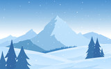 Vector illustration: Winter snowy flat Mountains landscape with pines, hills and snowflakes