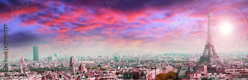 panoramic view of Paris on sunset - 219660797