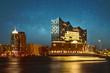 Leinwanddruck Bild - Hamburger Elbphilharmonie bei Nacht