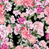 Beautiful watercolor pattern with peony flowers.   - 219678761