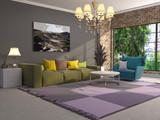 Interior of the living room. 3D illustration - 219680171