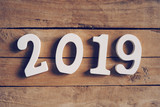 New year 2019 word on wooden table. Business concept. - 219681163