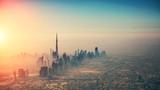 Aerial view of Dubai city in sunset light - 219683320