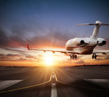 Private jet plane landing on runway in beautiful sunset light. - 219683365