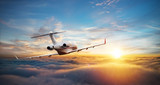 Private jet plane flying above clouds - 219683384