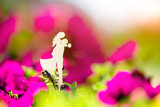 Symbol of love on the background of blooming petunias.  - 219684357
