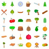 Tree icons set. Cartoon style of 36 tree vector icons for web isolated on white background