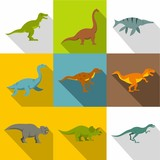 Dinosaur icon set. Flat style set of 9 dinosaur vector icons for web design