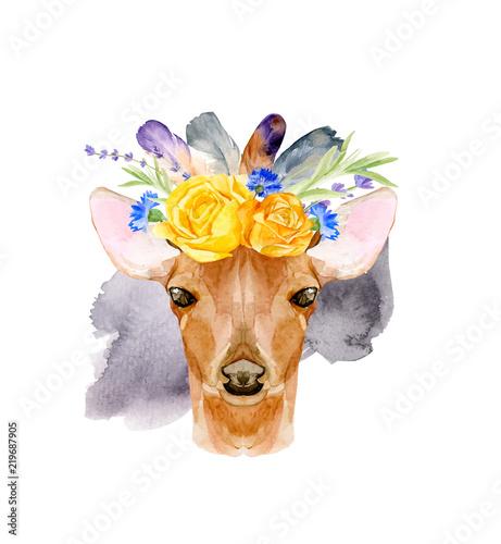 Watercolor bohemian baby deer animal vector illustration with floral crown for kindergarten, woodland nursery, decoration forest illustration. Hand drawn boho poster of romantic deer for children. - 219687905
