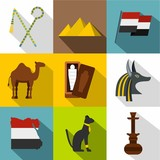 Egypt landmarks icon set. Flat style set of 9 Egypt landmarks vector icons for web design - 219688352