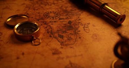 navigation items on old world map. 4k dolly shot