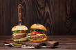 Tasty grilled home made burgers - 219693176