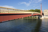 red suspension footbridge over the Saone river - 219704765
