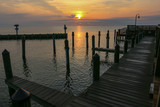Southern Maryland Sunrise at North Beach Pier in Calvert County Maryland USA - 219705733